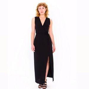 American Apparel Small Black Crepe Wrap Dress